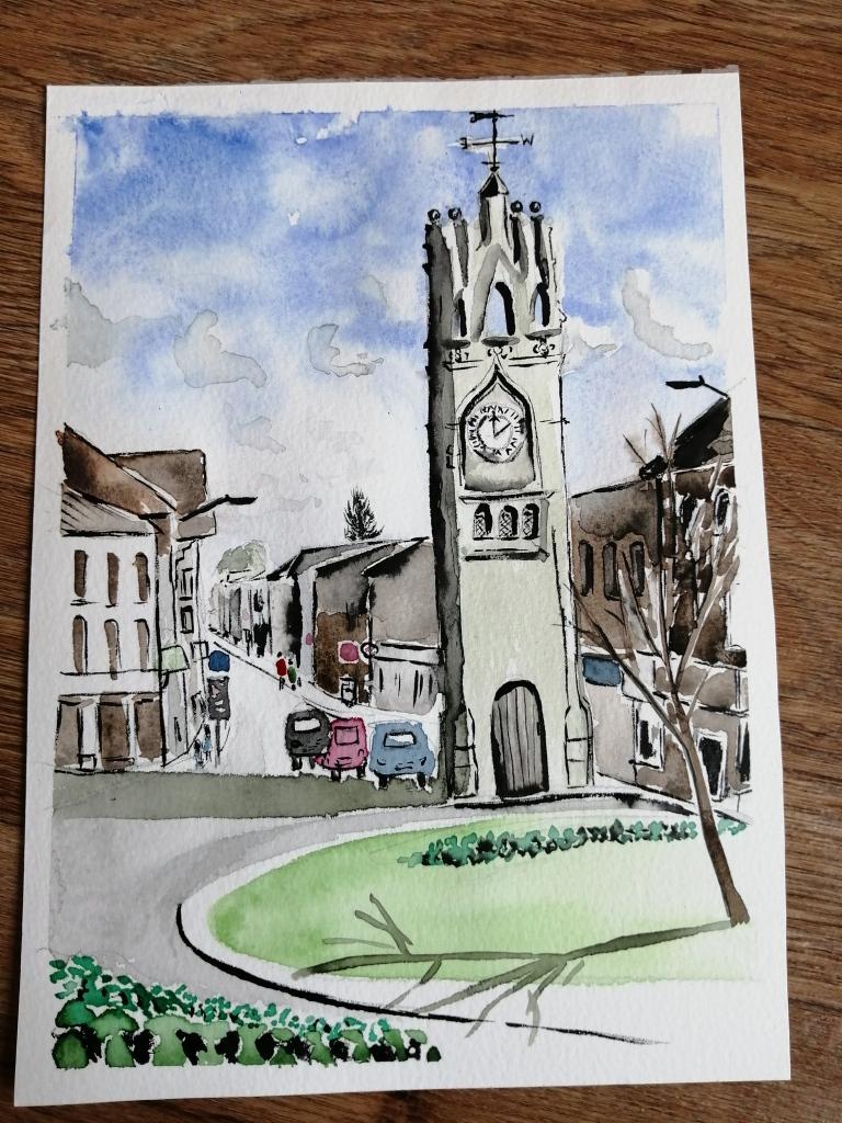 'Kenilworth Clock Tower' watercolour