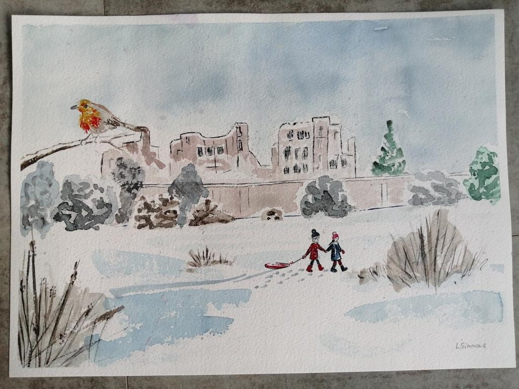 'Snowy Kenilworth Castle'