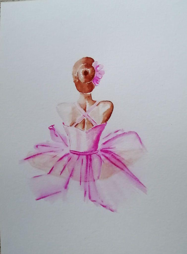 'Sitting Ballerina' Watercolour