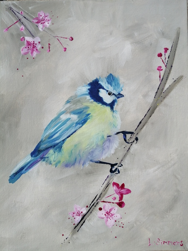 'Blue Tit in The Cherry Blossom'
