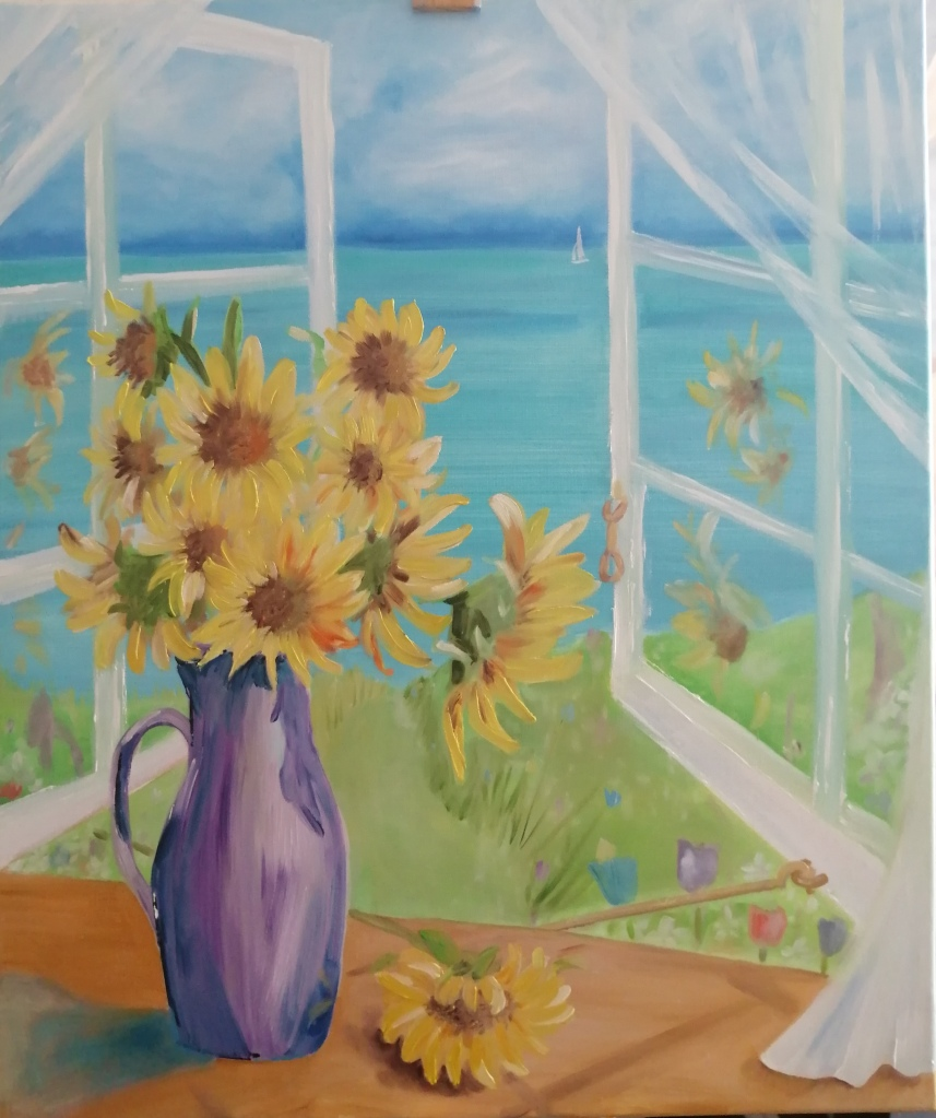 'Sunflowers and a Sea View'