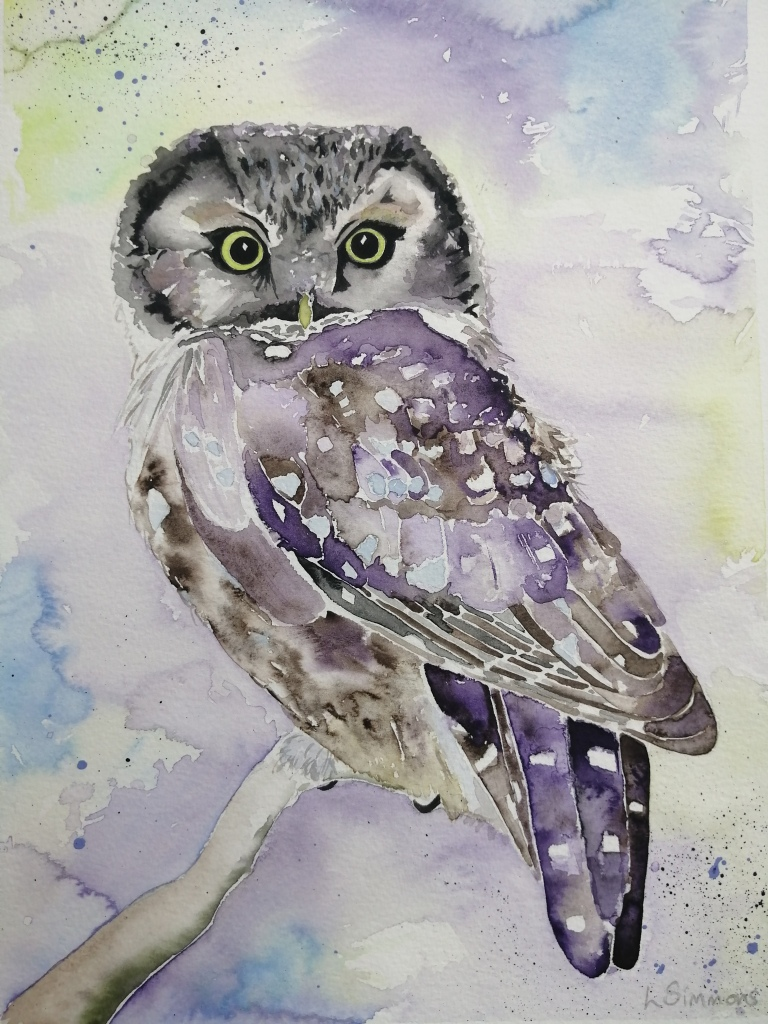 'Purple Watercolour Owl'